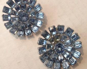 Vtg 60s Bogoff Baby Blue Rhinestone Clip On Earrings