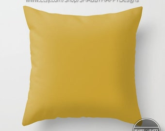 Solid Color GOLD Pillow Zippered Cushion Case Cover /Modern Minimalist Art Indoor or Outdoor 2-Sided 16X16 18X18 20X20 Cotton