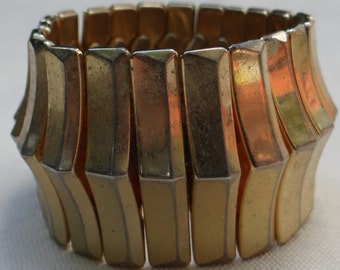 """Gold Tone Metal Flex Expansion Bracelet, 1 1/2"""" tall and 3""""Wide"""