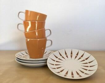 8 Pc Retro Teacups and Saucers Set Narumi Tango