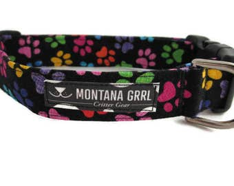 Dog Collar....black with colorful paws, pink paw, red paw, purple paw, blue paw, puppy collar, paw print collar