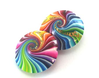 Polymer Clay beads in rainbow colors, 2 swirl lentil beads, colorful swirl lentil beads with gold, beads for jewelry making