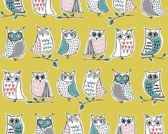 Hootenanny by Monaluna  Owl Fabric Organic Cotton Anya Monaluna Yellow Owl Fabric Modern Organic Fabric Owl Fabric Modern Quilting