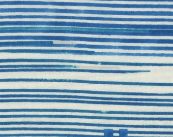 Nani Iro Double Cotton Gauze Saaaa Saaaa Rondo Kokka Cobalt Blue Stripe Made in Japan Blue and White Sripes Japanese Fabric