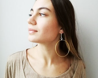 Gold hoop earrings, drop earrings with silver, gold plated hoops, large gold hoops, sterling gold plated hoops with silver hooks, boho hoops