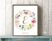Watercolor Flowers, Flower Calligraphy Monogram Art, Monogram Art, Flower Letter Nursery Print, Personalized Name Art, Art Decor, Print