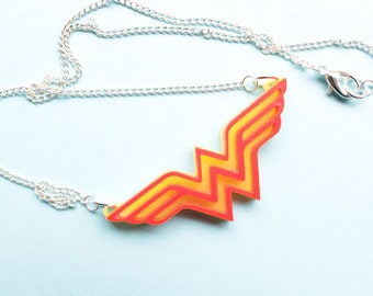 Wonder Woman Necklace Acrylic Comic Book Pendant