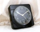 Working Vintage 1980s West German Black Plastic Wall Clock, French Mid Century Decor, Retro, Home, Interior Design, Home, 1970s, Time Piece