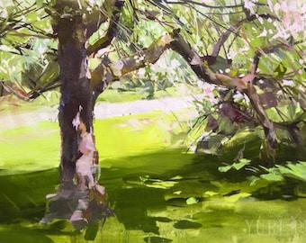 Spring painting canvas art, Original oil painting landscape art, Greenery painting, Nature artwork