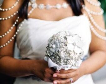 DEPOSIT | Pearl Bridal Bouquet | Rhinestone Brooch Bouquet | White Bridal Bouquet | Brooch Bouquet