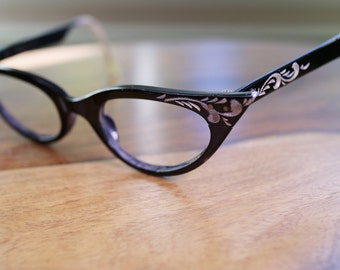 Vintage Black Victory Cat Eyeglasses 44/21 Discount Price