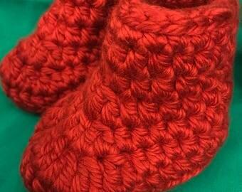 Red crochet  baby booties!