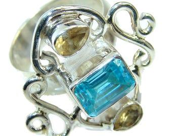Swiss Blue Topaz, Citrine Sterling Silver Ring - weight 10.00g - Size 8 - dim L -1 1 8, W - 1, T - 1 4 inch - code 15-sie-16-13