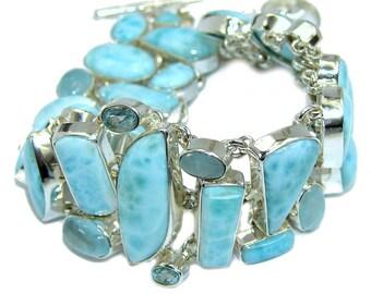 Larimar, Swiss Blue Topaz, Aquamarine Sterling Silver Bracelet - weight 49.50g - dim 1 inch - code 5-wrz-16-8