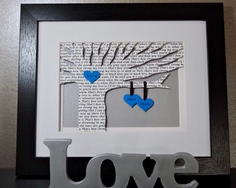 Unique First Anniversary Gift, Personalized Wedding Gift, Song Lyrics, Vows, Framed Lyrics, 1st Anniversary, Paper Gift, Partners, LGBT