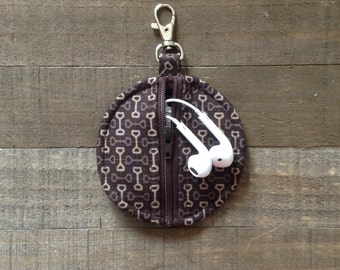 Dark Brown Geometric - Circle Zip Earbud Pouch / Coin Purse Abstract