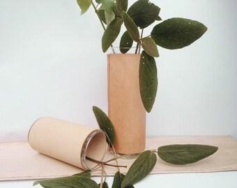 CUSTOM LISTING for Jen - Leather Vase Vessel Large - Natural