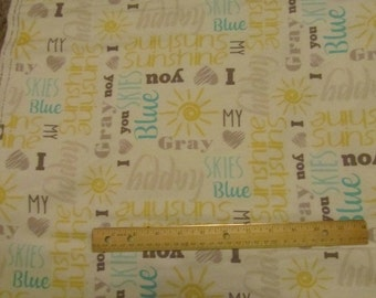 White You Are My Sunshine/Blue Skies  Flannel Fabric by the Yard