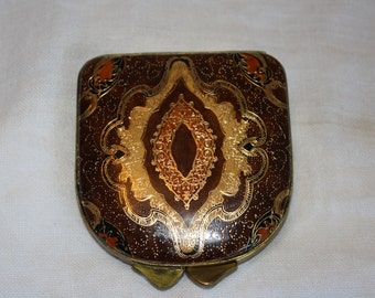 Vintage Intricately Tooled Florence Leather School Compact