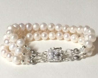 White Pearl Bracelet  Chanel Style 8.5 Triple Strand Freshwater Pearls With Sterling Findings And Swarovski Crystal Beads