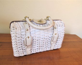 1960s Vintage white mid century coated white wicker purse