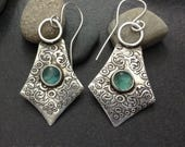 Light blue green apatite earrings, hand crafted solid sterling silver metalwork with a delicate raised  pattern light weight