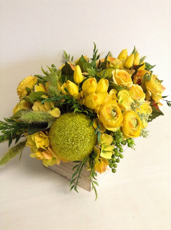 Spring Table Centerpeice / Rustic Yellow Floral / Faux / Artificial Arrangement