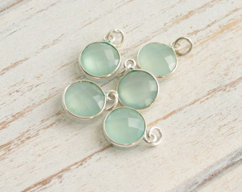 Sterling Silver Bezel Sea Green Chalcedony -- 1 Faceted Stone -- 11mm