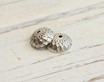 Antiqued Silver Brass Acorn Bead Caps -- 2 pieces