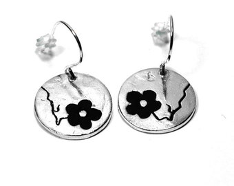 Black Cherry Blossom earrings. Sterling silver