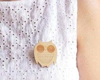 Laser Cut Wooden Owl Brooch