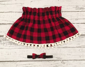 Buffalo Plaid Paper Bag Waisted Skirt. Size 12 Months. READY TO SHIP