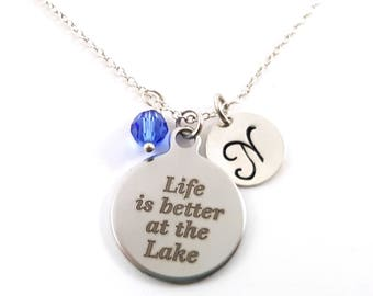Life Is Better At The Lake- Silver- Swarovski Birthstone - Personalized Initial Necklace - Sterling Silver Jewelry - Gift for Her