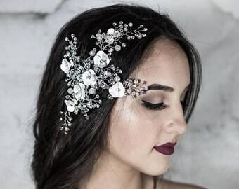 Bridal hair clip, Decorative Comb, Bridal Headpiece, Bridal Hair Jewelry, Crystal Hair Accessory, Bridal Headband, Crystal Headband