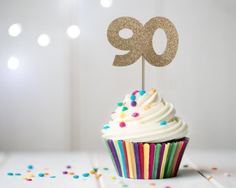 90th Birthday Cupcake Topper, 90th Cupcake Stick, 90th Milestone Birthday Cupcake Pick, Milestone Birthday Decorations, 12 Count