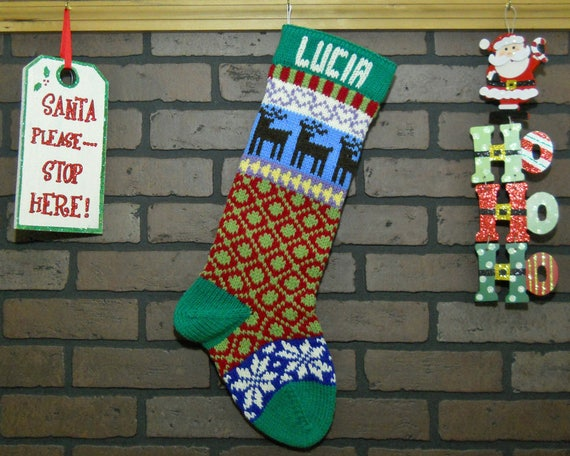 Personalized Hand Knit Christmas Stocking in Kelly Green with