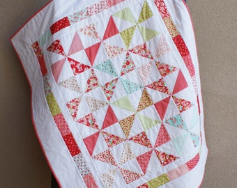 Pinwheel Quilt, Lap Blanket Throw, Little Ruby Moda, Triangles, Wallhanging Decorative, Christmas Gift Girl, Crib Cot Bed, Baby Toddler