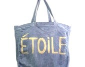Shoulder TOTE Shopper Cotton French Bag / Eve Damon