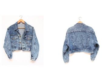 SALE jacket - 90s guess denim jacket - 90s womens cropped denim jacket - acid wash denim jacket - 90s stone wash denim - size L