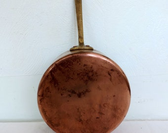 Vintage French 1mm copper cooking pan, pot,  with brass handle and tin lining