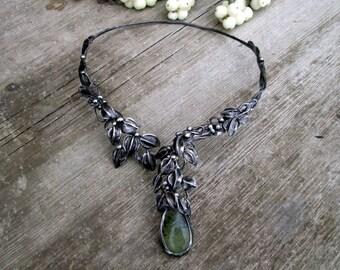 metal  pendant  prehnite with epidote