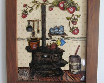 Farmhouse Antique Wood Cook Stove Reverse Glass Painting Grandmas Kitchen Stove Antique Butter Churn Farmhouse Decor Farmhouse Wall decor