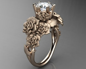 Nature Inspired 14K Rose Gold 1.0 Ct Simulated Diamond Cubic Zirconia Rose Bouquet Leaf and Vine Engagement Ring R427-14KRGSCZ