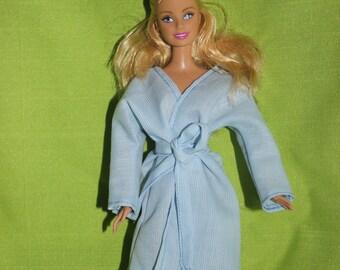 Blue Robe Bathrobe for Barbie doll