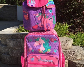 Personalized Unicorn Rolling Suitcase, Embroidered Luggage for Children, Monogrammed luggage for Kids, Stephen Joseph wheeled Luggage,