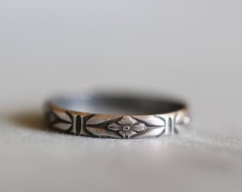 HEIDI:  Sterling silver Ring, Wedding Band, Dainty, Delicate, Botanical, Minimalist, Rustic, Bohemian,  Made To Order