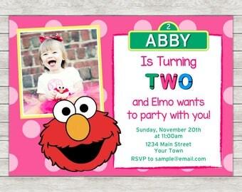 Elmo Girl Birthday Invitation - Printable File or Printed Invitations