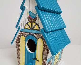 Turquoise blue hand painted country cottage stone birdhouse with bluebird by Sally T. Crisp