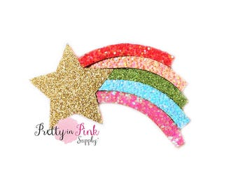 "Rainbow Shooting Star Felt Glitter Applique 3""- Glitter Felt- Party Supply- DIY Supply- Felt Glitter Craft- Hair Bows- DIY Craft Supply"