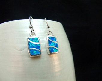 Blue Opal Sterling Silver Drop Earrings
